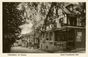 "Postcard from the 1930s showing the Hotel ""Frankfurter Hof"" in Falkenstein near Frankfurt."