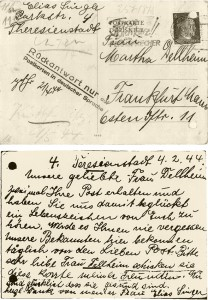 One of the many post cards sent from the ghetto Theresienstadt by Gela and Elias Singer. © Institut für Stadtgeschichte Frankfurt am Main