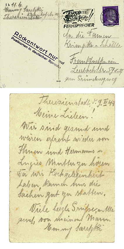 "Emmy Saretzki sent a sign of life from the ghetto Theresienstadt to the Baumeister family and mentioned her children Hermann and Luzie. In order not to endanger them she used the address of a common friend who was classified as ""mixed race, 1 Class"" and therefore deemed less dangerous. © Marion Schmidt"