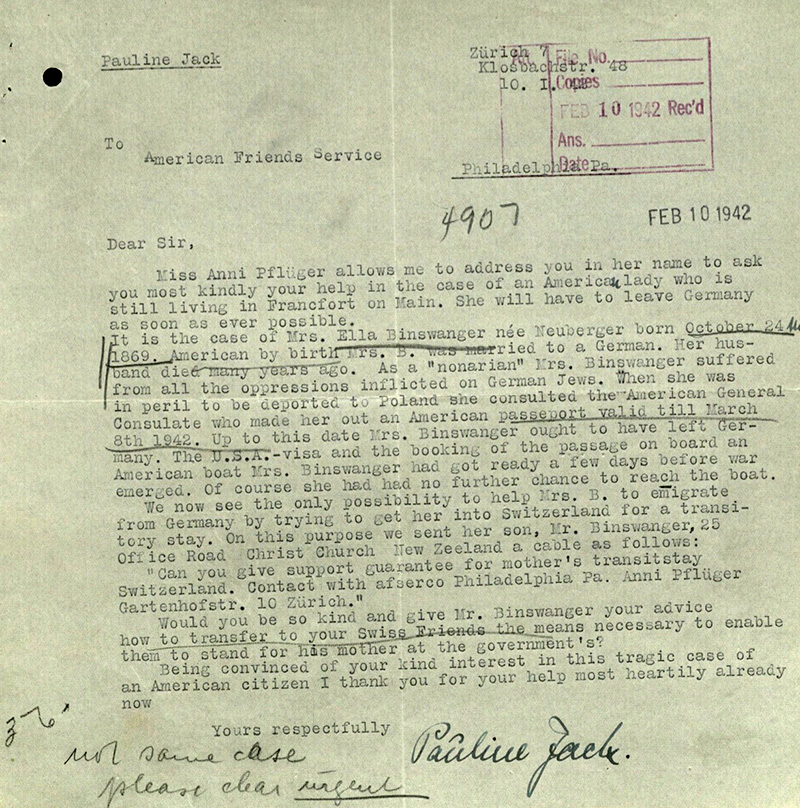 Pauline Jack, emigrated to Zürich in 1939, requests the American Quakers to help Ella Binswanger to emigrate via Switzerland. © Collection 2002.296, Case No. 7926, US Holocaust Memorial Museum, Washington D.C.