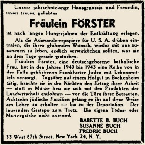 "Advertisement in the exile magazine ""Aufbau"" of 6. December 1946."
