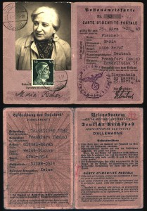 "Postal ID card issued with the alias ""Maria Fischer"" which was used by Maria Fulda during her illegal residence in Ziegenhain. © Hessisches Hauptstaatsarchiv, Wiesbaden"