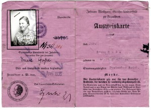Irene Block's student ID from 1935, the year of her enrollment. © University Archive, Johann Wolfgang Goethe-University, Frankfurt am Main