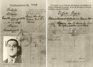 """Hans Waider entwendet einen Dienstausweis und stellt ihn mit einem Foto von Robert auf den Namen """"Wilhelm Sticheler"""" aus. © Schweizerisches Bundesarchiv Bern"""