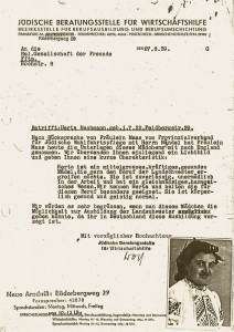 The Jewish Advice Office for Business Assistance requested the Religious Society of Friends (Quakers) to help Herta Nachmann emigrate. © Bibliothek der Generationen, Historisches Museum, Frankfurt am Main
