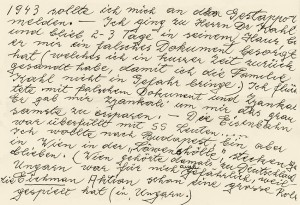 Excerpt from Tuschi Müller's letter (dating from 1996) to Gerhard Kahl.  Description of her escape from Frankfurt am Main to Vienna. © Dr. Eugen Kahl
