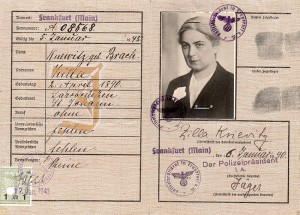 "ID card for Margarete Knewitz with the printed ""J"" and the Jewish name Zilla, which identified her as ""Jew"". © Erica Ludolph"