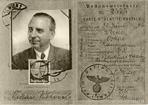 "Postal ID for Siegmund Stein issued in Vienna under the name ""Oscar Werm"" © Hessisches Hauptstaatsarchiv, Wiesbaden"